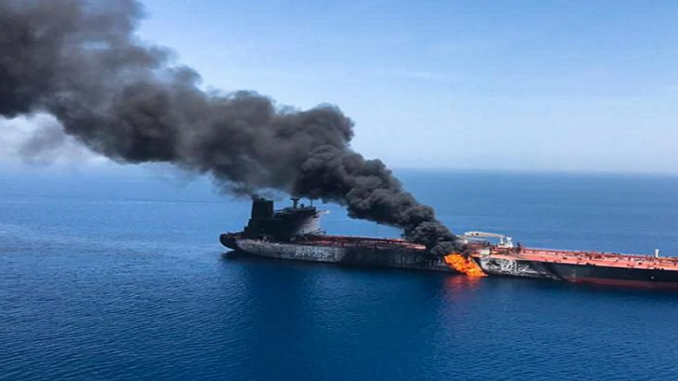 Explosion in the Oman Gulf